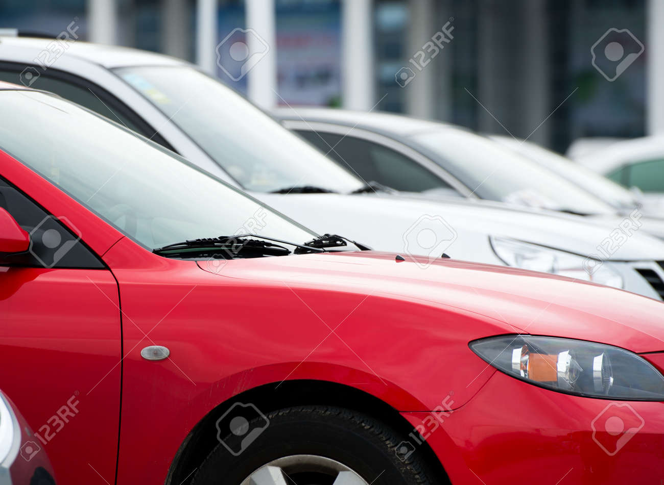 many cars parked in a row. Stock Photo - 16500984