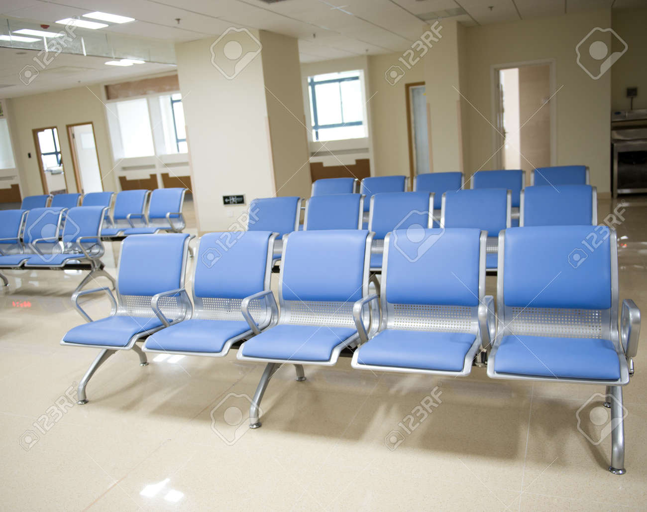 Empty chair in room - Hospital Waiting Room With Empty Chairs Stock Photo 17828424