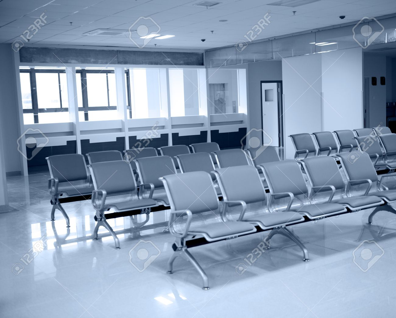 Hospital waiting room with empty chairs stock photo 17828381