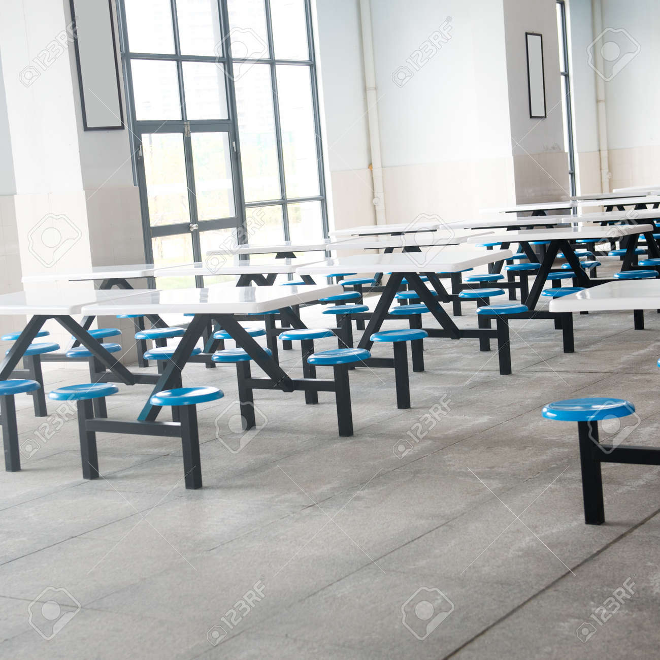 Clean cafeteria tables - Clean School Cafeteria With Many Empty Seats And Tables Stock Photo 17828113
