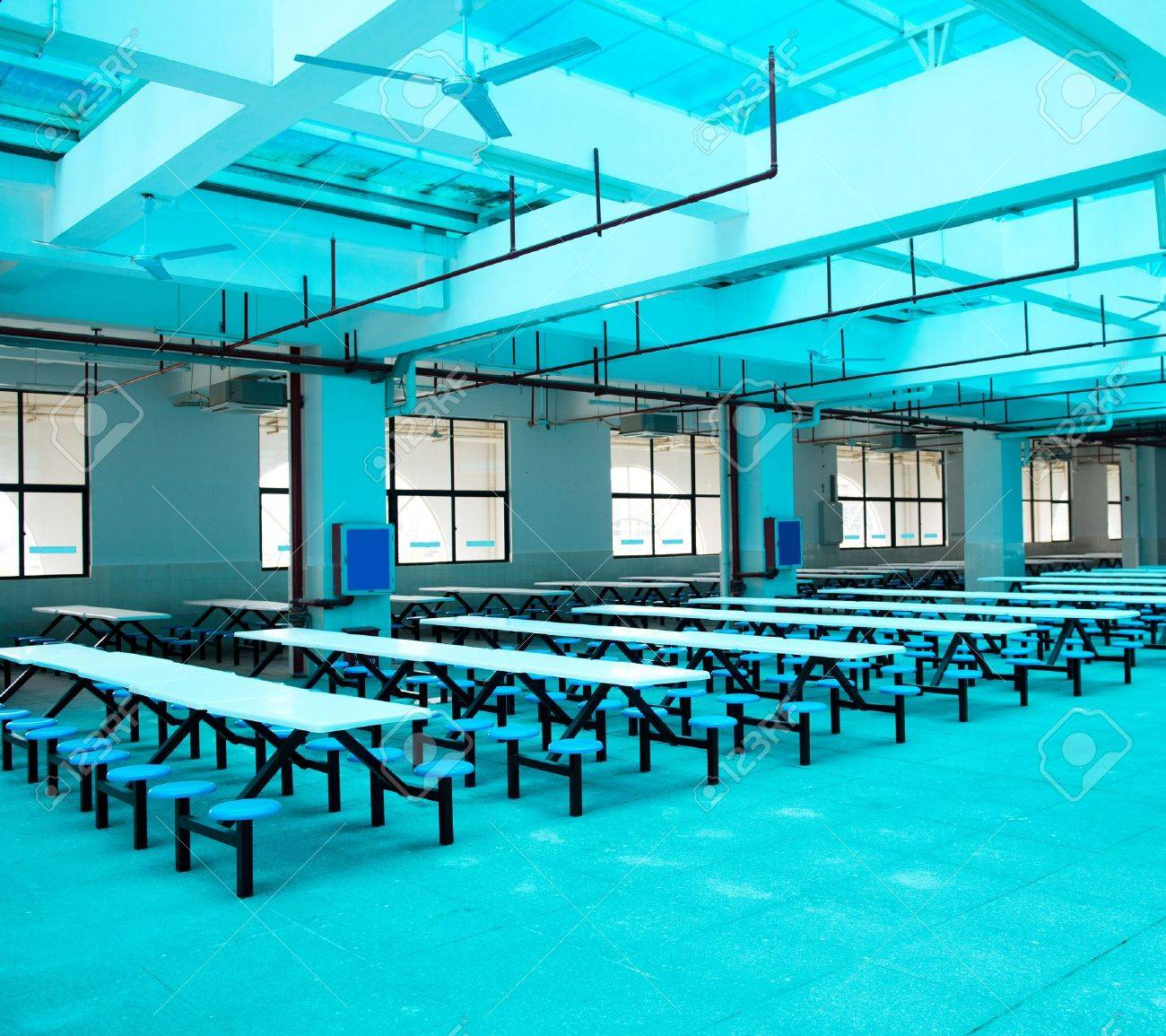 Clean cafeteria tables - Clean School Cafeteria With Many Empty Seats And Tables Stock Photo 17828526