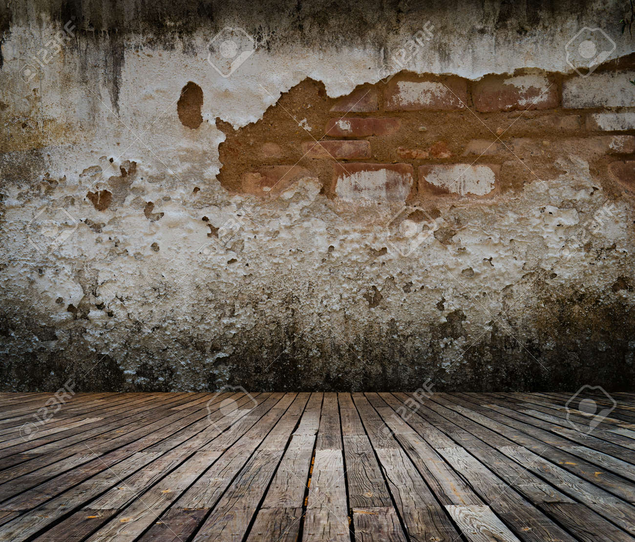 Stock photo abstract the old wood floor and brick wall for background