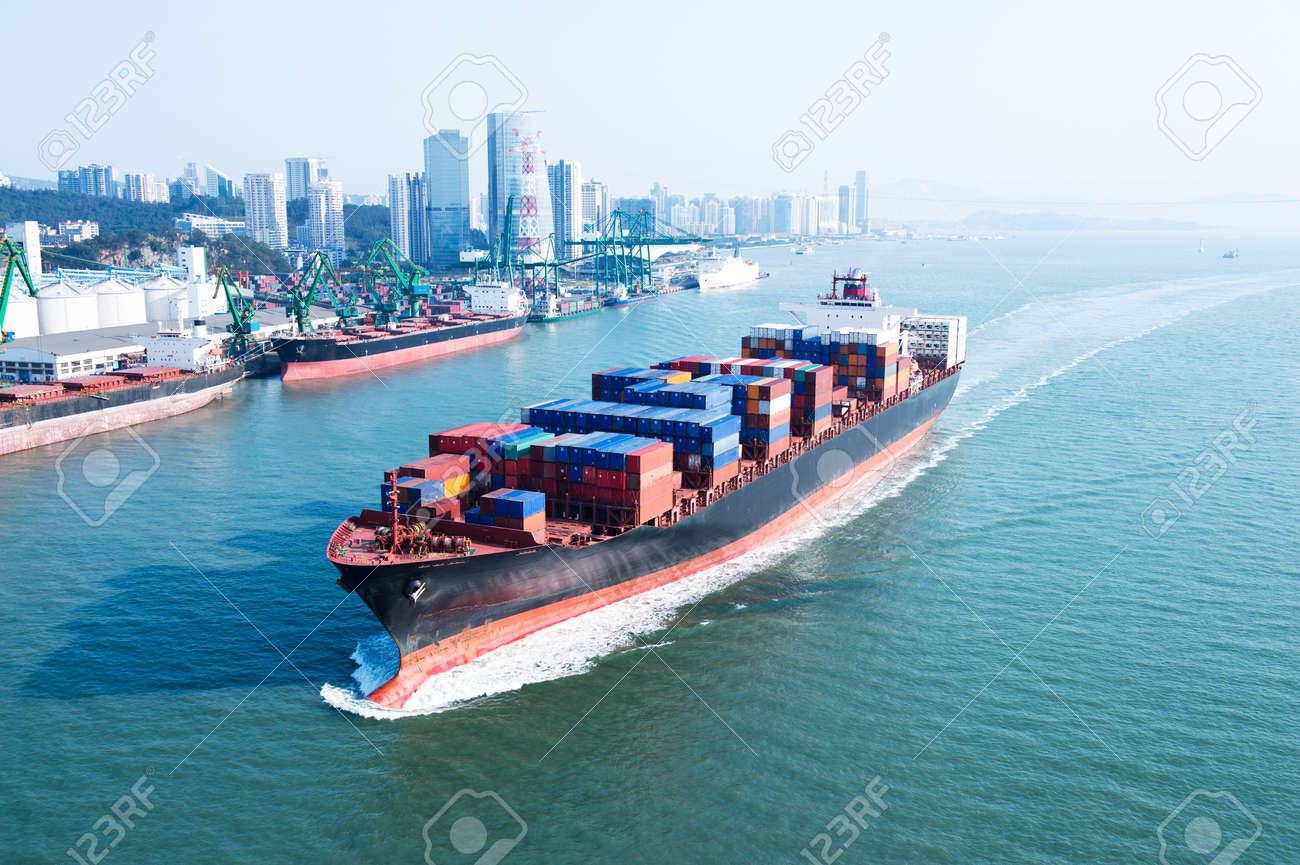 Large container ship arriving in port. Stock Photo - 23723259