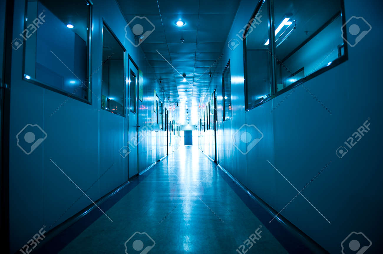 Empty long corridor in hospital. Stock Photo - 23975412