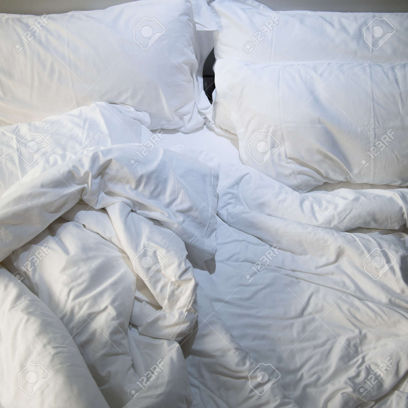 Awesome Close Up Of Messy Bedding Sheets And Pillow Stock Photo   24905349