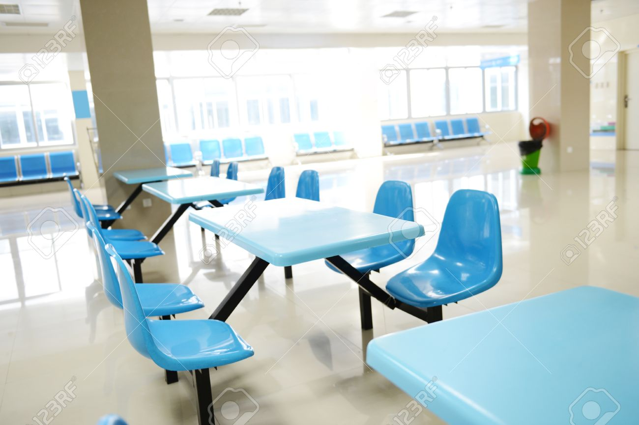 Clean cafeteria tables - Clean School Cafeteria With Many Empty Seats And Tables Stock Photo 25012565