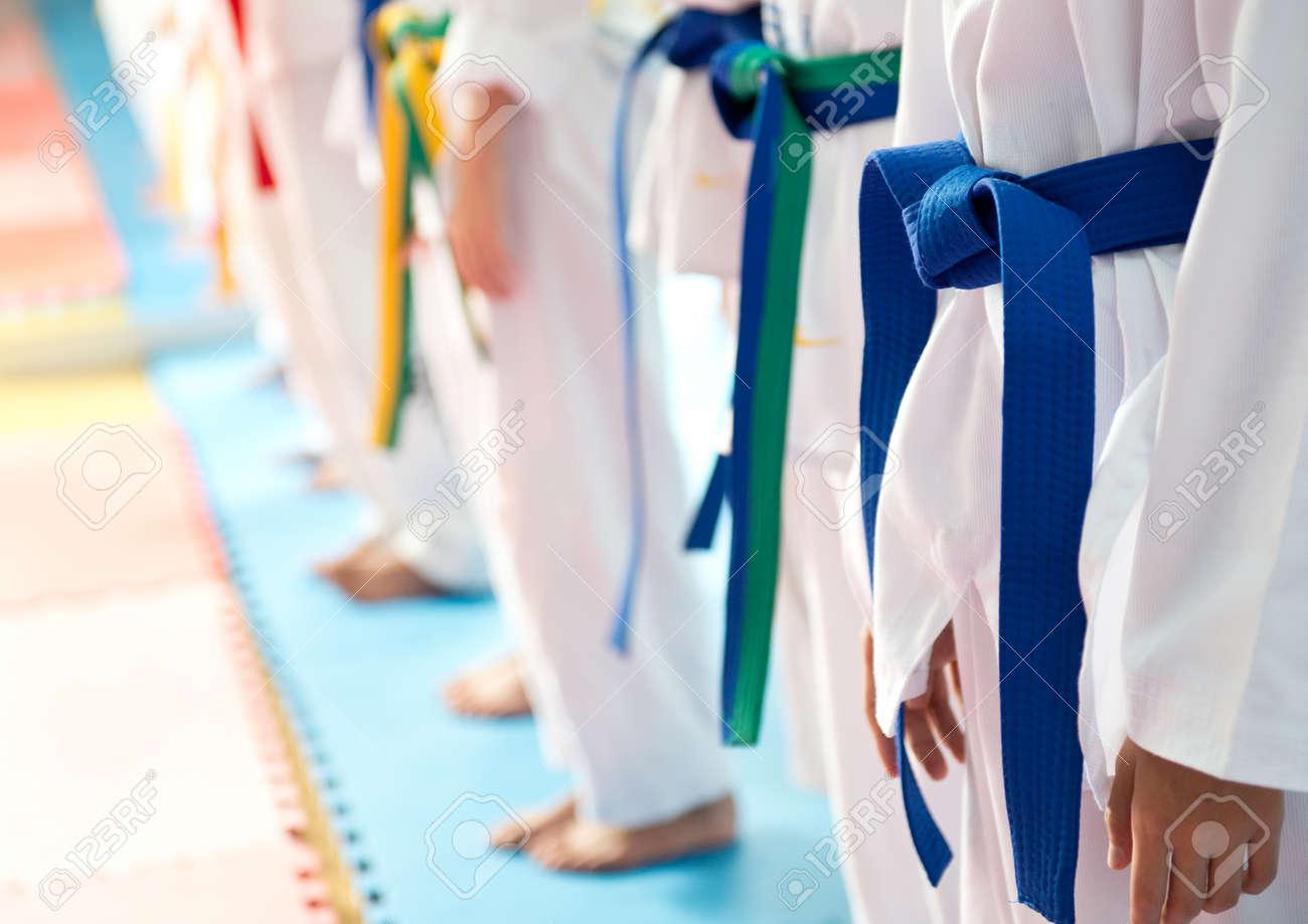 People in martial arts training exercising Taekwondo. Stock Photo - 33707523