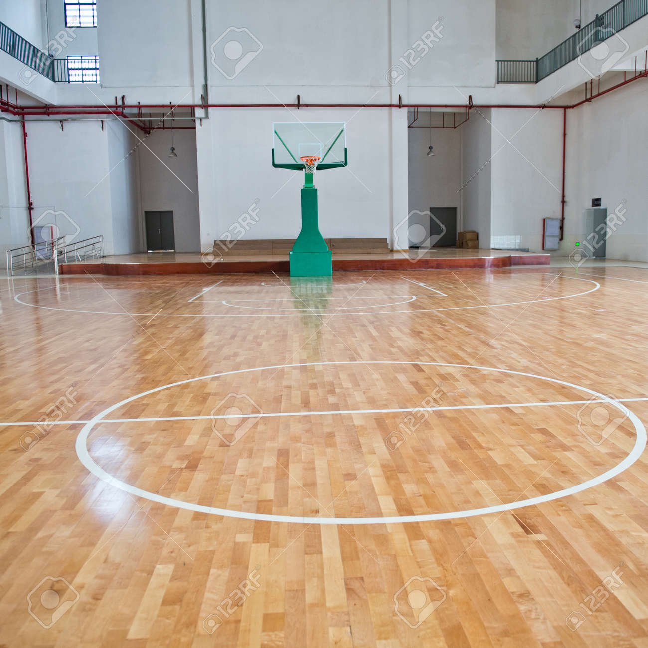 Basketball Court, School Gym Indoor. Stock Photo, Picture And ...