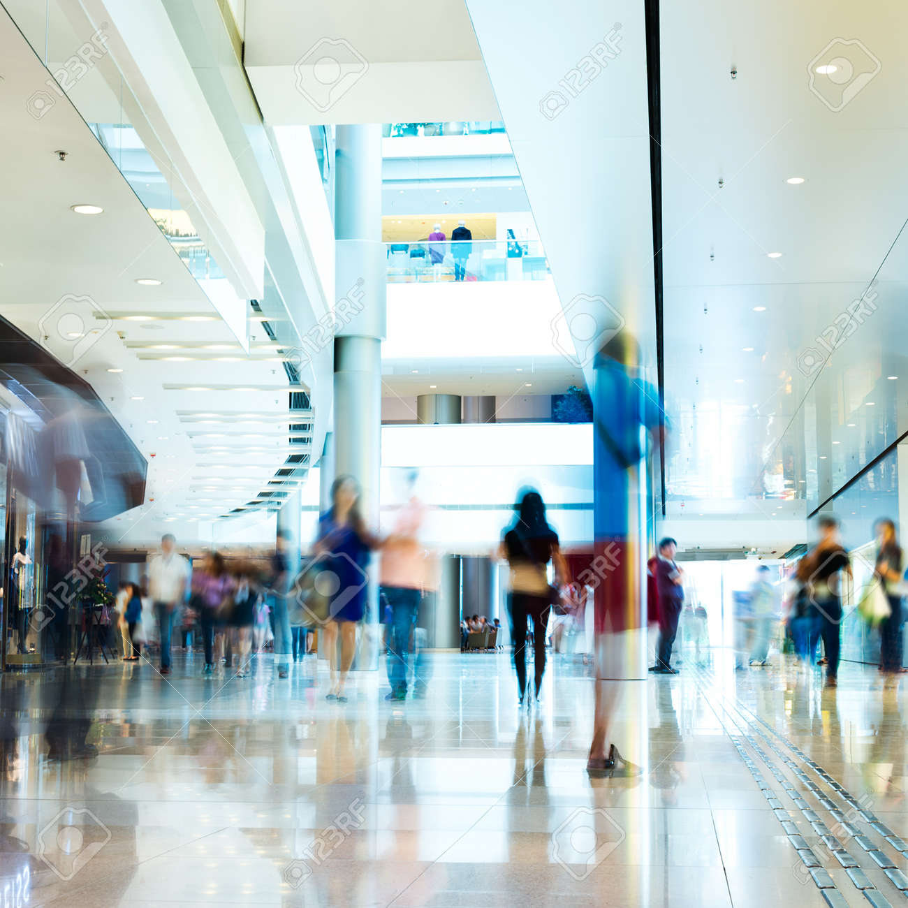 People rushing in the lobby. motion blur Stock Photo - 35160001