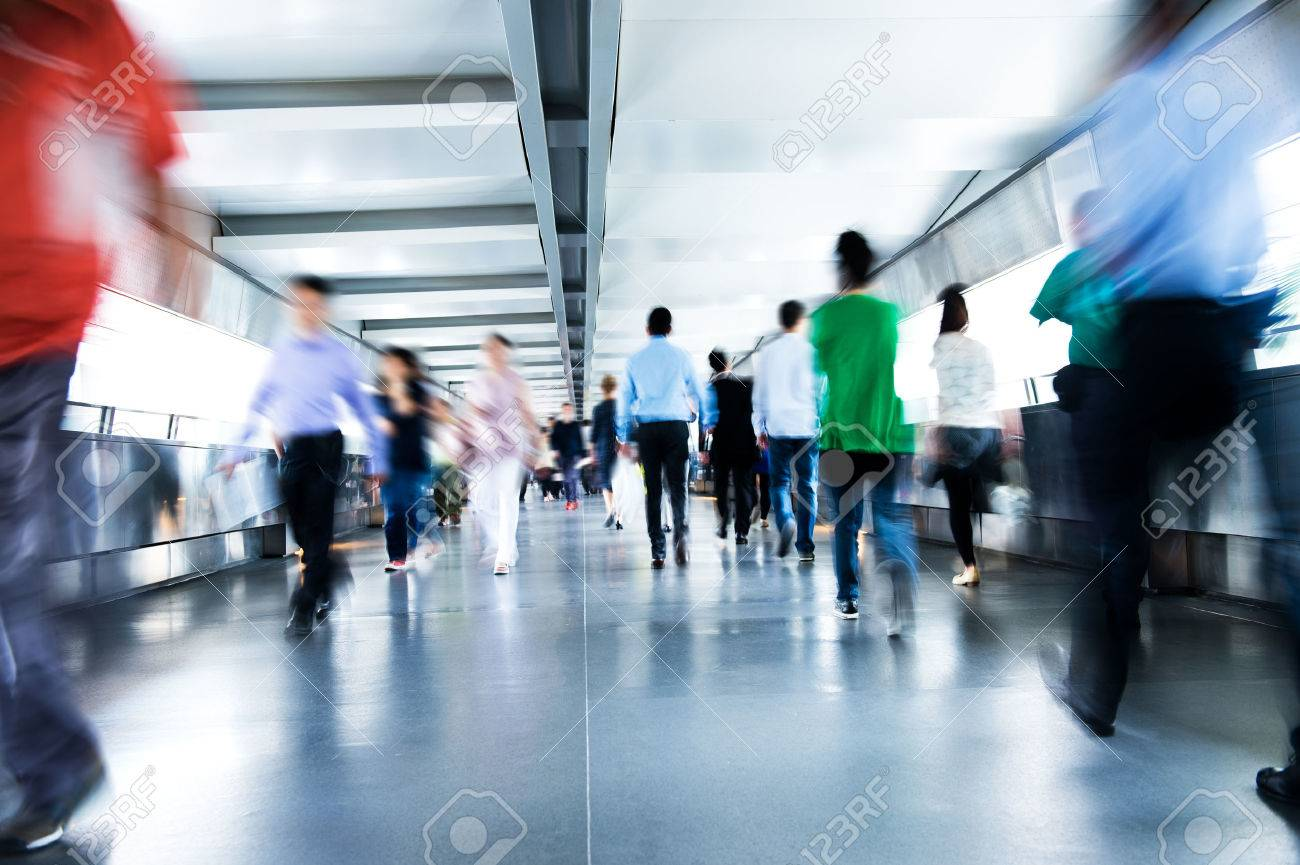 People rushing in the lobby. motion blur Stock Photo - 67726807