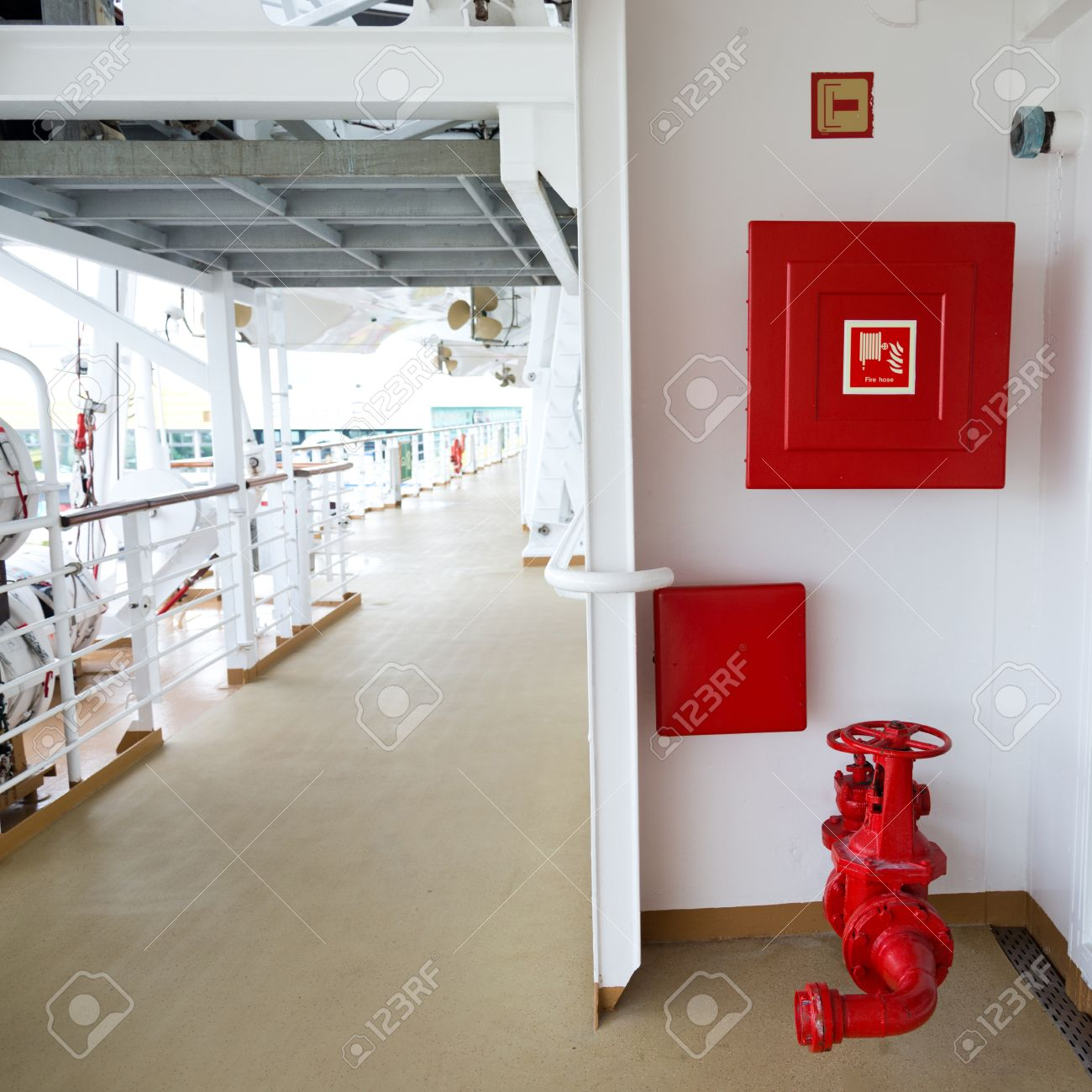 American Fire Hose And Cabinet Fire Hose Cabinet On A Ship Stock Photo Picture And Royalty Free