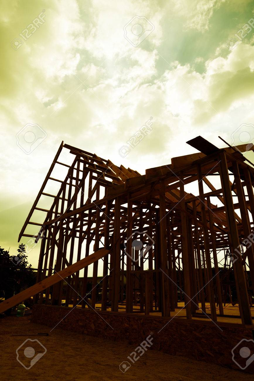 New wooden house under construction. Stock Photo - 35412903