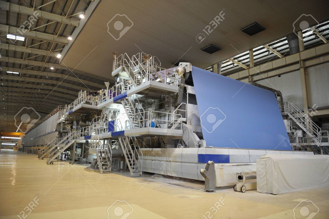 Paper mill machine in the workshop Stock Photo - 37182338