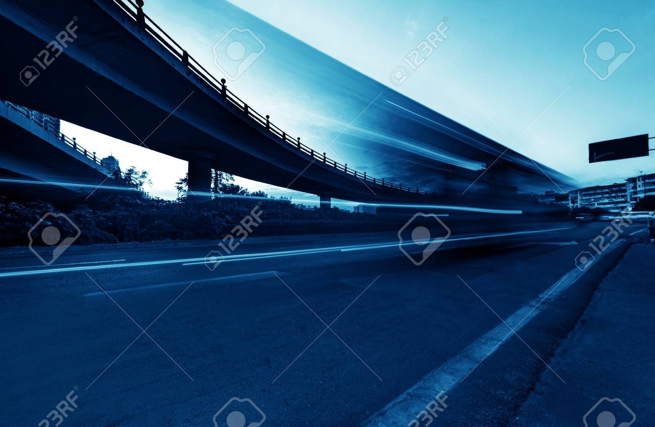 the night of modern bridge, the lights formed a line Stock Photo - 18564682