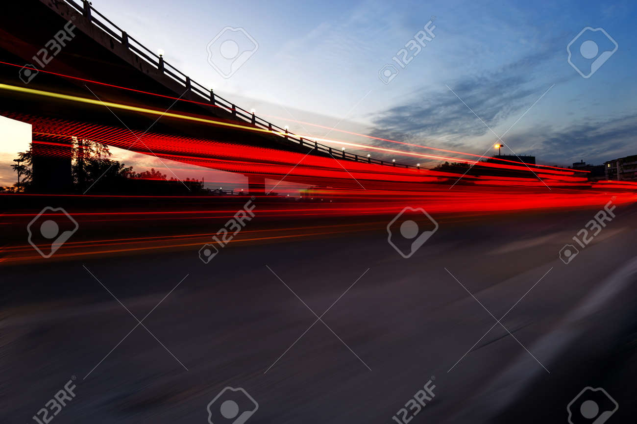 the night of modern bridge, the lights formed a line Stock Photo - 18564358