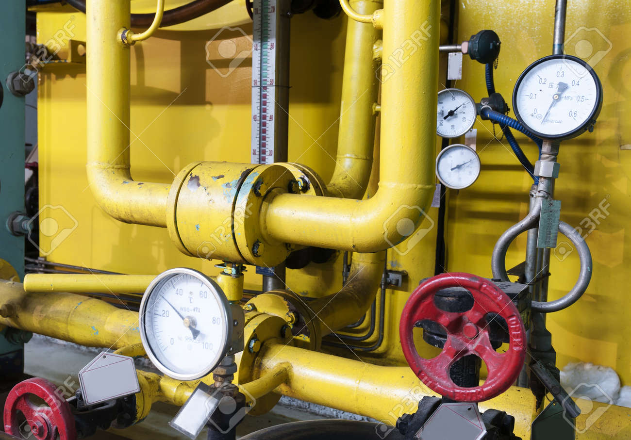 Closeup Of Manometer, Pipes And Faucet Valves Of Heating System ...