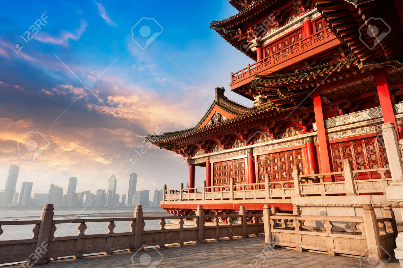 blue sky and white clouds, ancient chinese architecture stock
