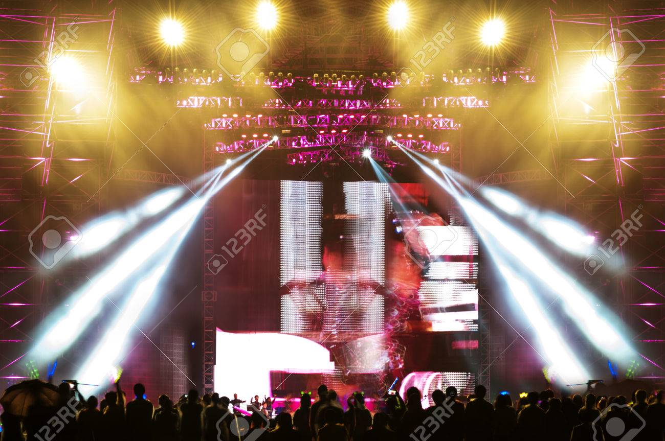Vector Stage Spotlight with Laser rays - 35686034