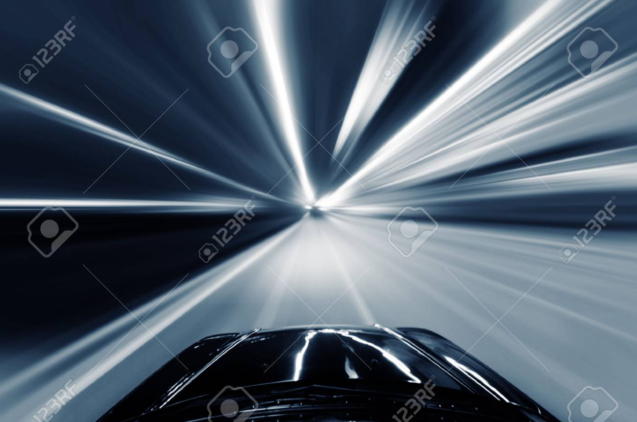 car on the road with motion blur background. - 35681384