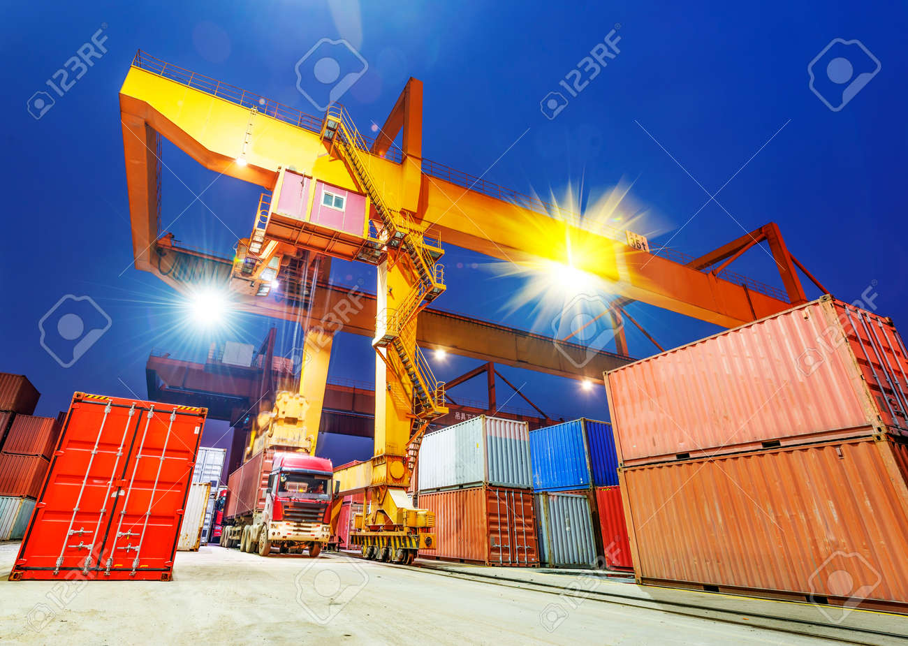 industrial port with containers - 35771797