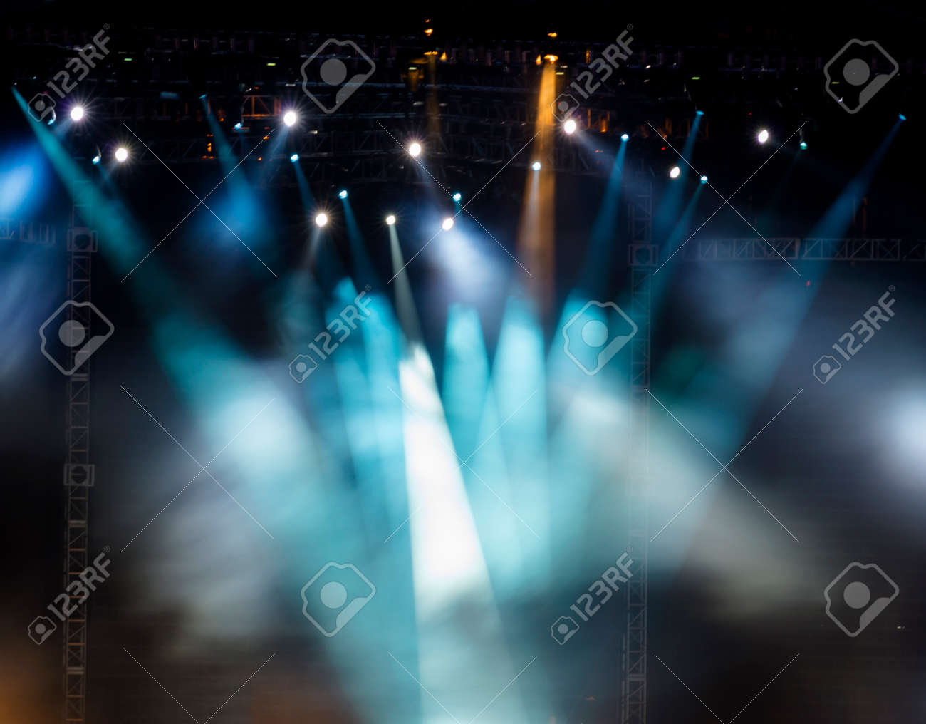Vector Stage Spotlight with Laser rays - 35774795