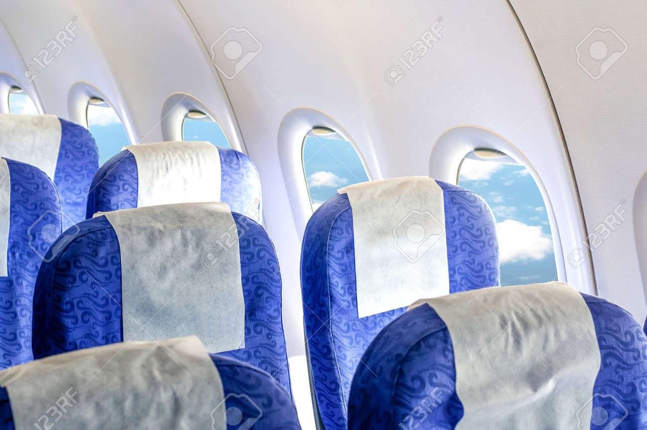 Empty aircraft seats and windows. - 35793031