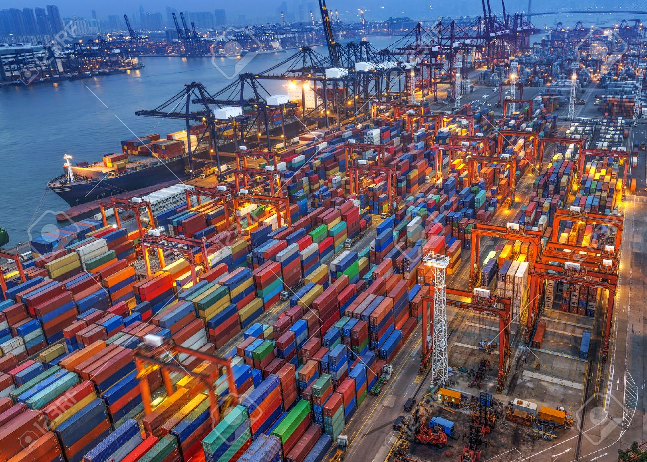 industrial port with containers - 44972932