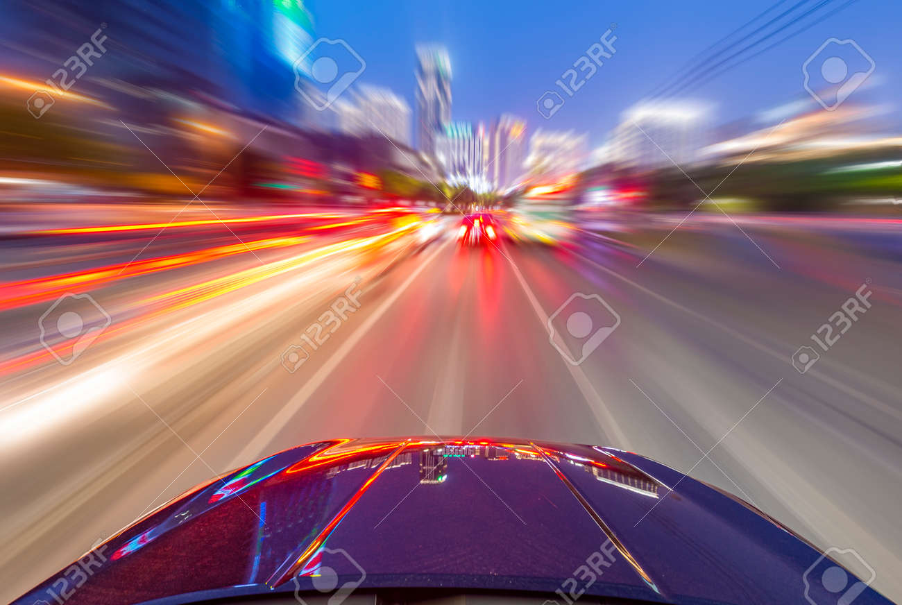 car on the road with motion blur background. - 146669404
