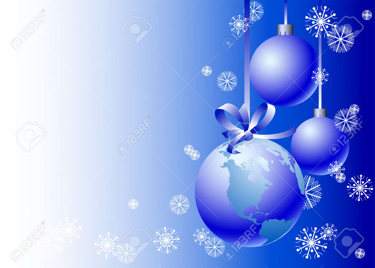 Christmas card with a blue sphere in the form of globe Stock Vector - 8003849