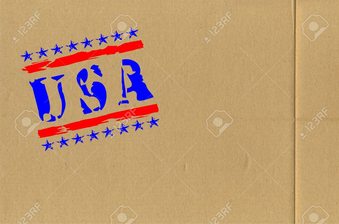 Lateral wall of a cardboard box with an information inscription Stock Photo - 9427548