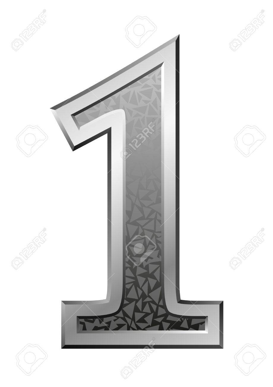 Metal Number 1 with a silvery fringing on a red background Stock Photo - 9483336