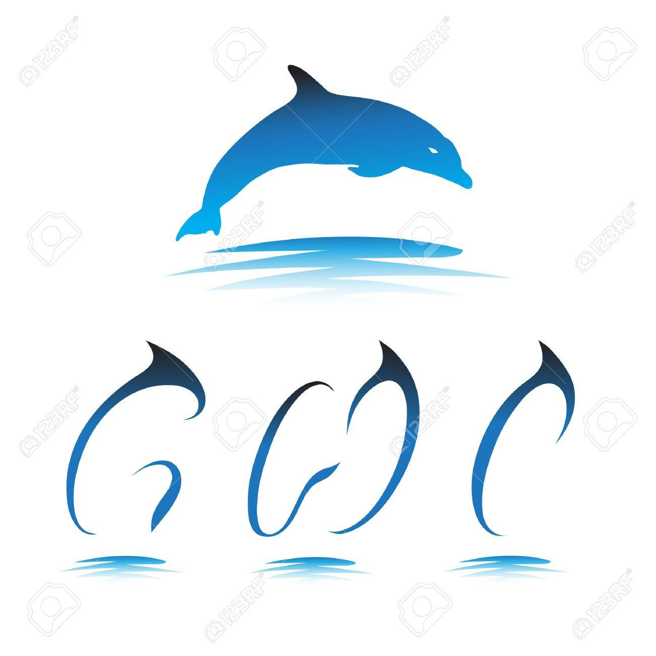 Font the Dolphin. Letters G, H, I vector Stock Vector - 9865910