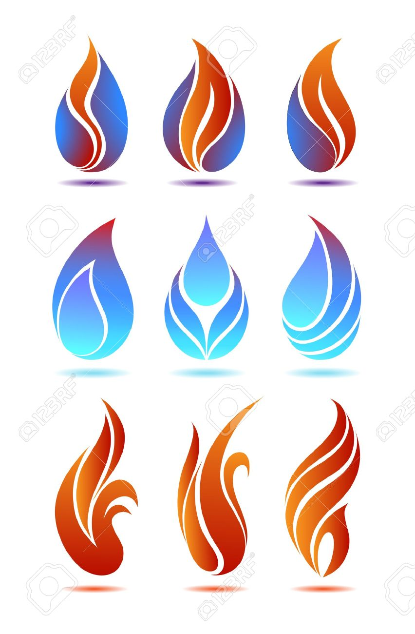 Symbols red and blue fire on white background vector - 10629971