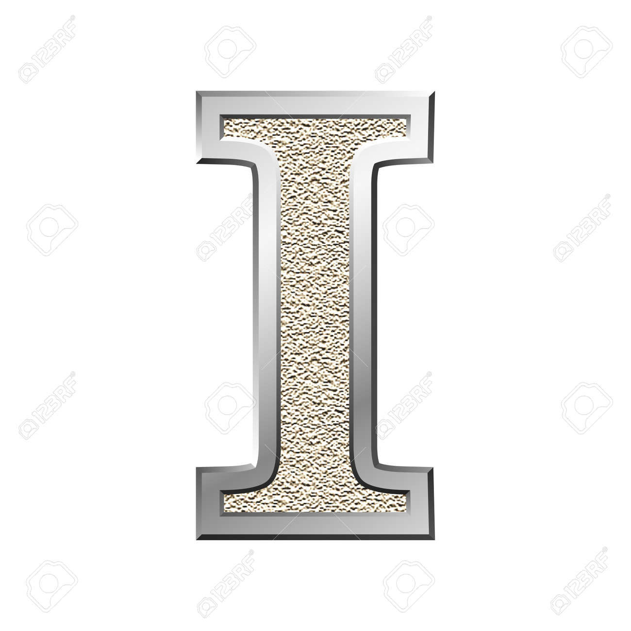 Metal Letter I Metal Letter I With A Silvery Fringing Stock Photo Picture And