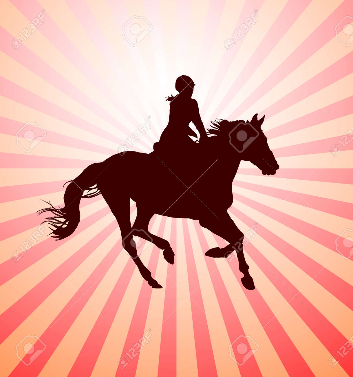 Carrying out horse with horsewoman vector Stock Vector - 11030594