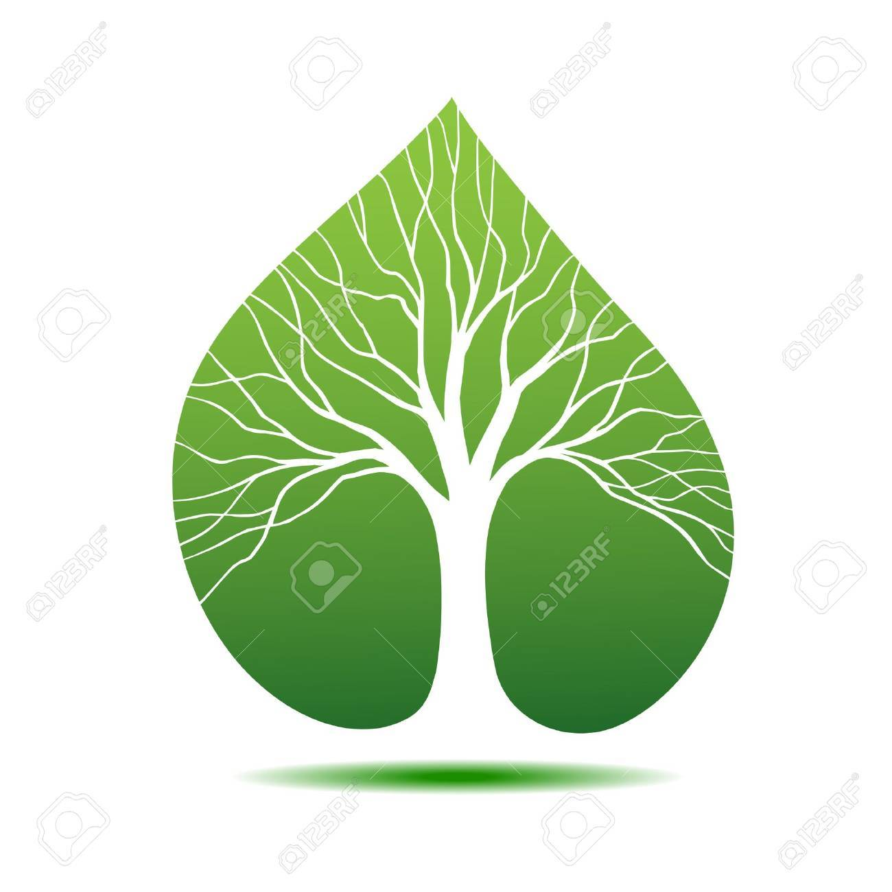 Symbol tree in the form silhouette against leaf Stock Vector - 11272524