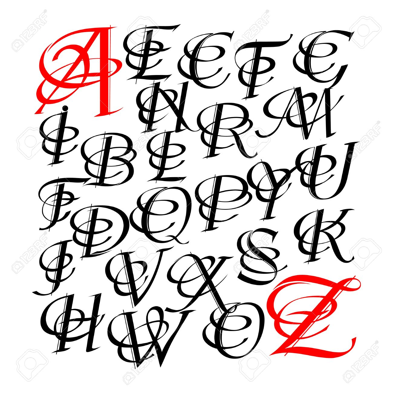 Calligraphic Letters Vector Design Royalty Free Cliparts, Vectors ...