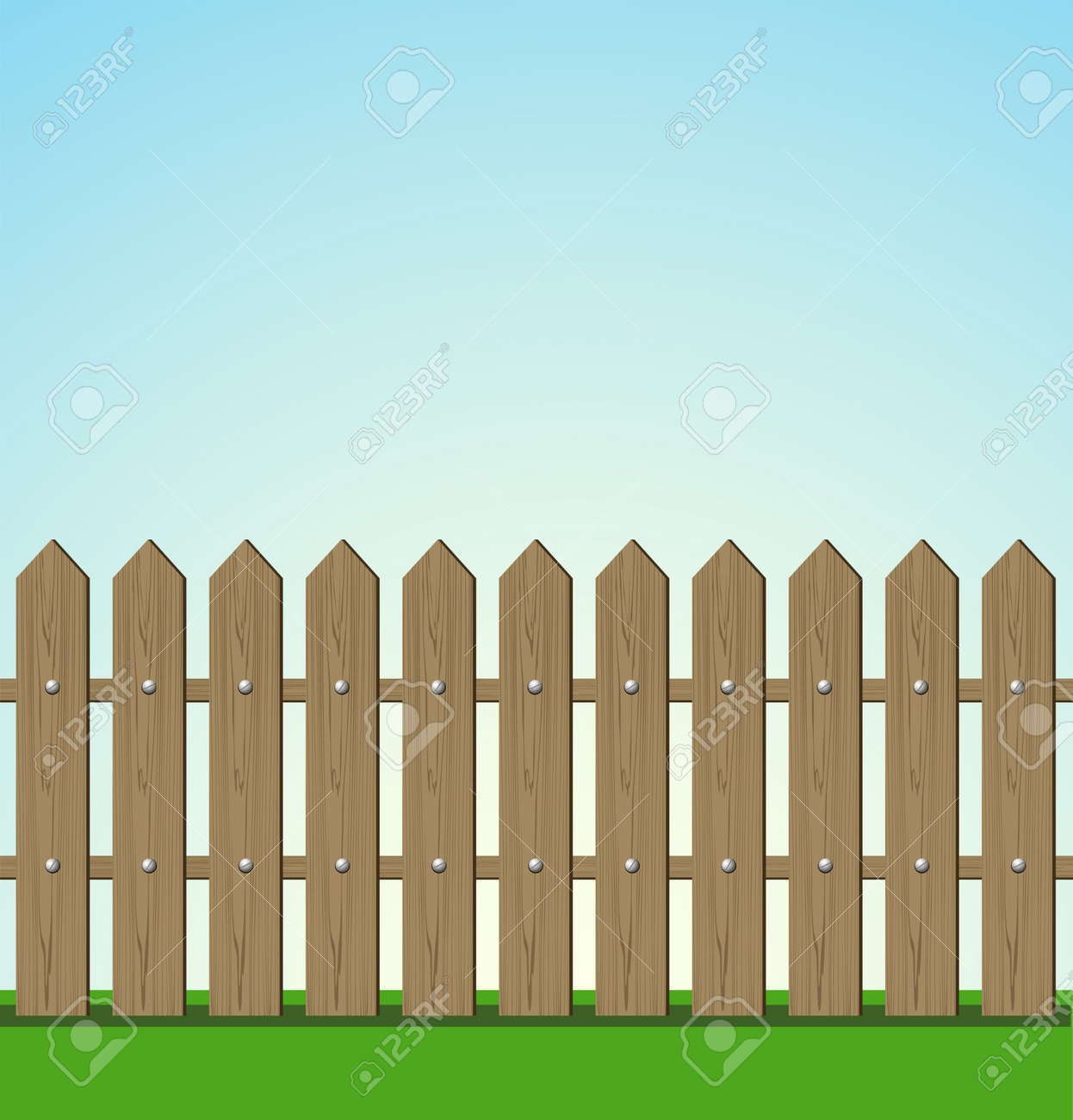 Wooden fence illustration Stock Vector - 15637376