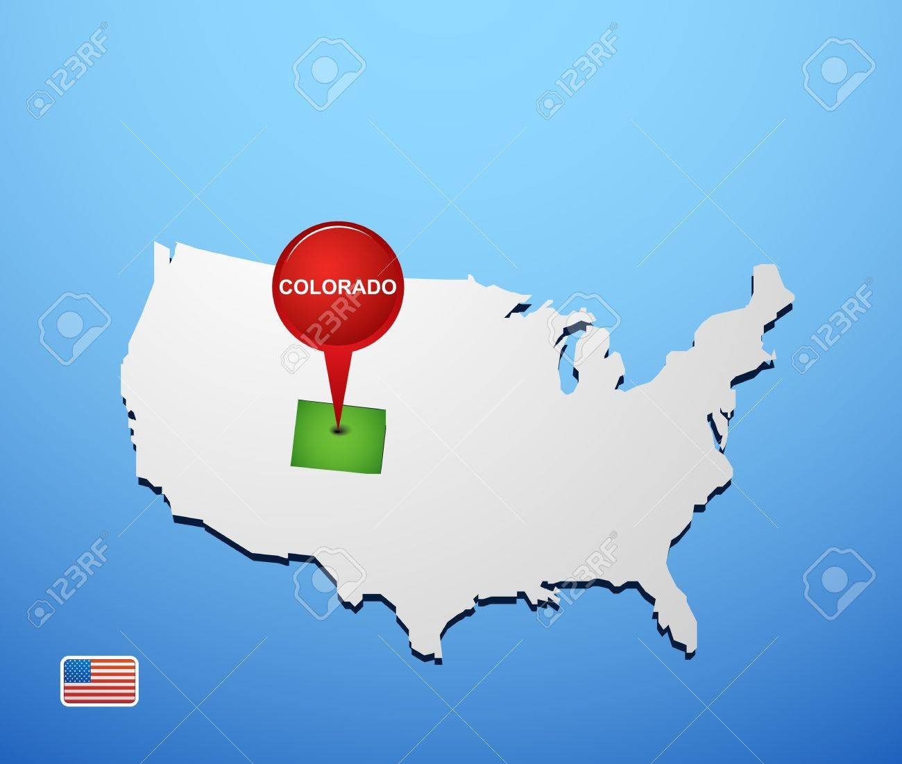 Colorado On USA Map Royalty Free Cliparts Vectors And Stock - Map of usa where is colorado