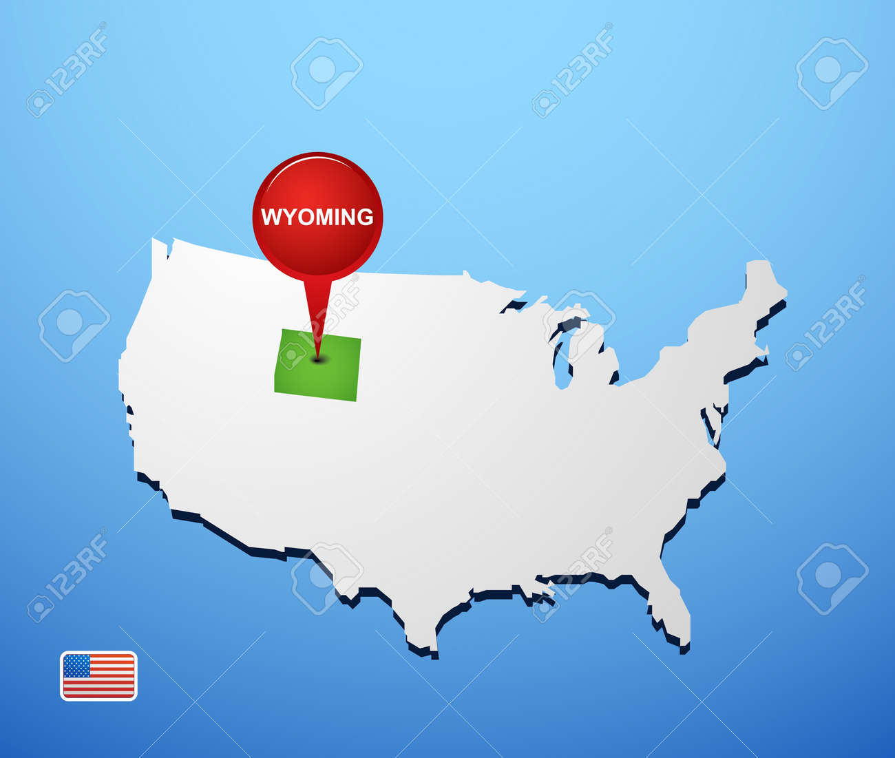 Wyoming On USA Map Royalty Free Cliparts, Vectors, And Stock ...