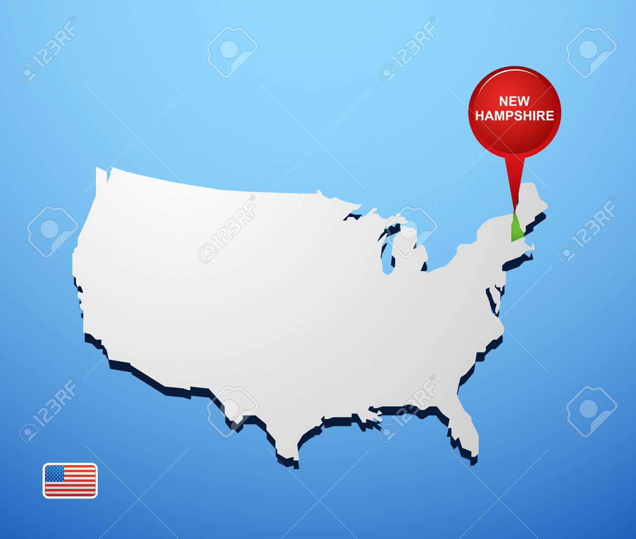 New Hampshire On Usa Map Royalty Free Cliparts Vectors And Stock
