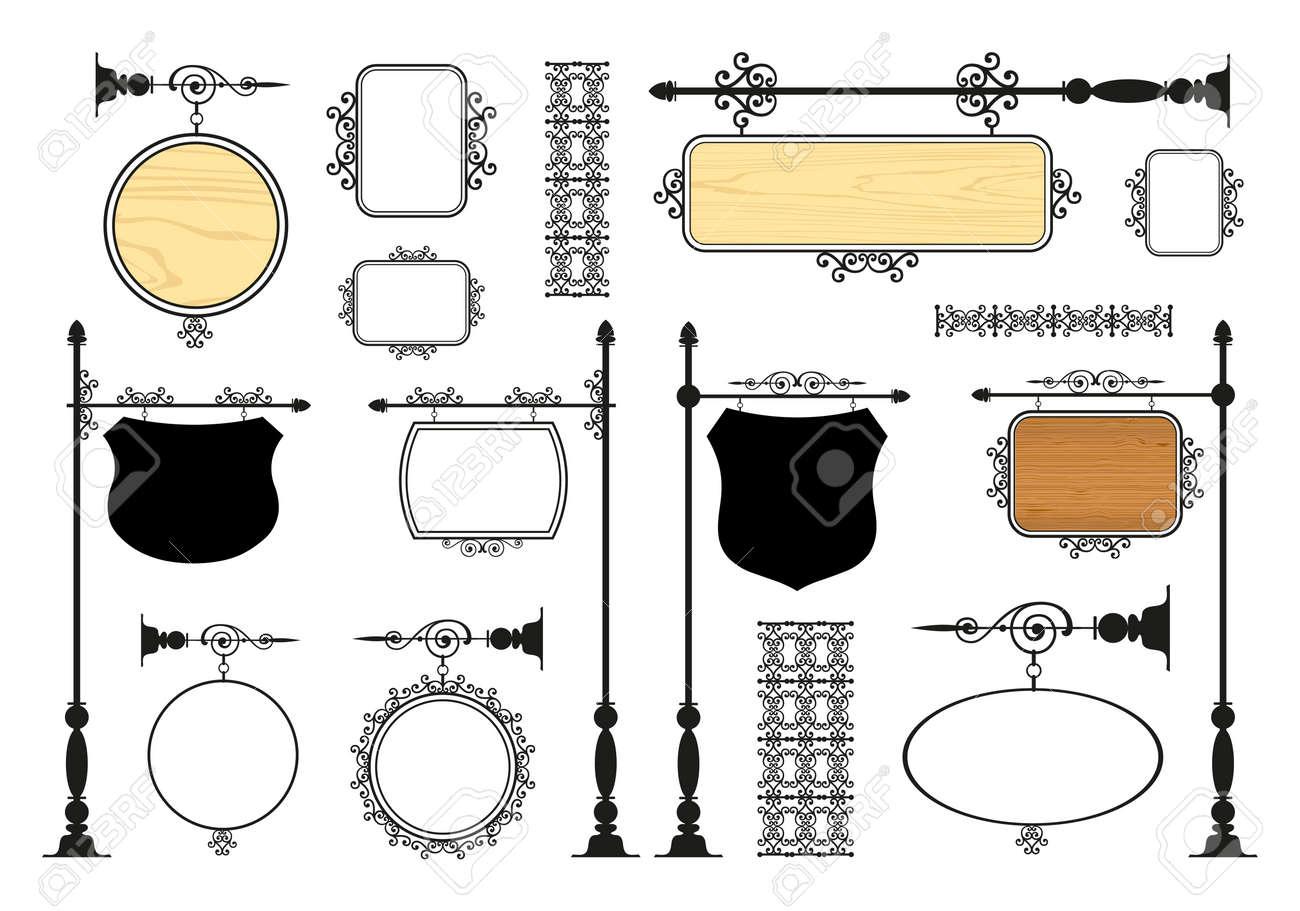 Wrought Iron Signage vector set - 39155308