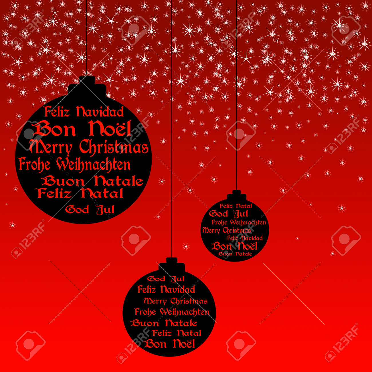 Black Christmas Balls With Merry Christmas In English French