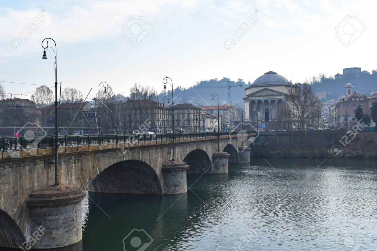 ee951eea57 Stock Photo - The church of Gran Madre di Dio (Big Mother of God) and a the  bridge Vittorio Emanuele I on river Po in Torino, Italy.
