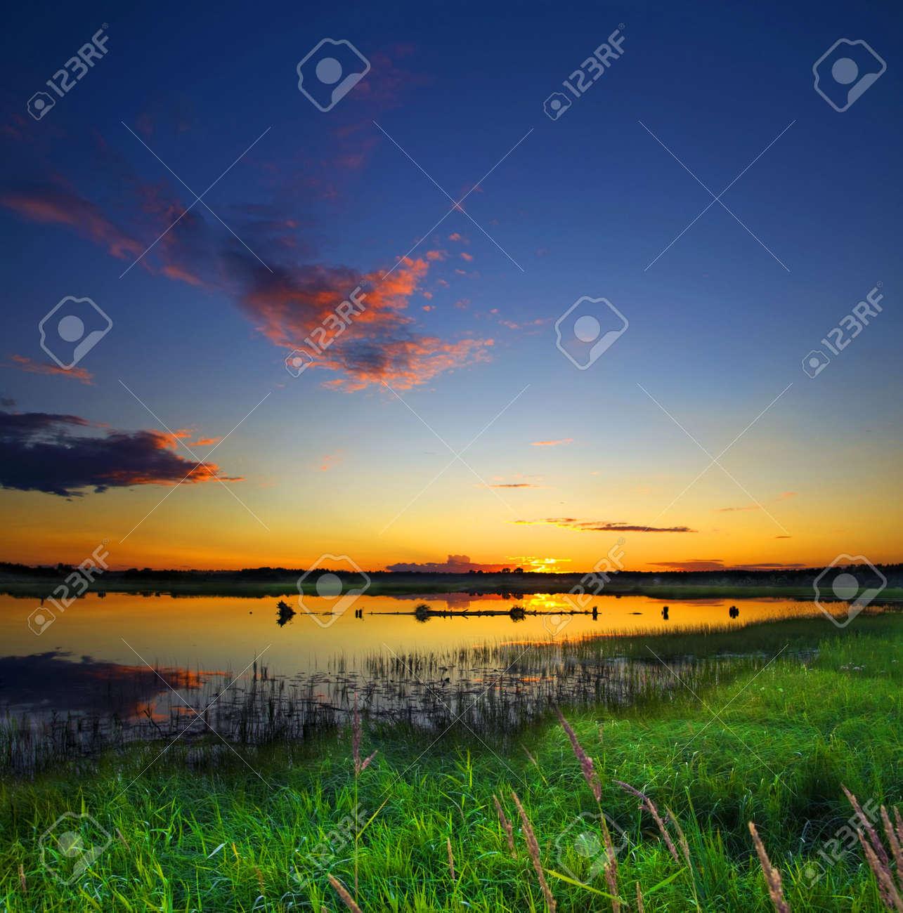 beautiful lake on sunset Stock Photo - 3606324