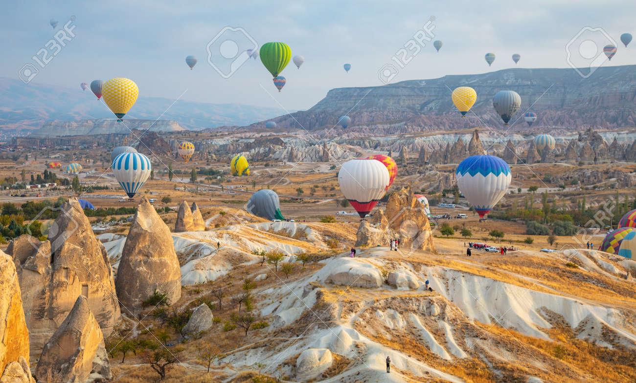 Hot air balloon flying over Cappadocia, Turkey - 131338355