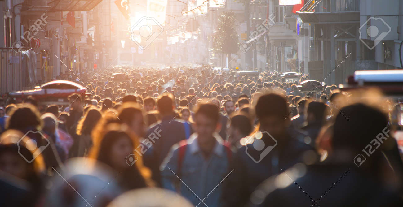 Blurred crowd of unrecognizable at the street - 131473390