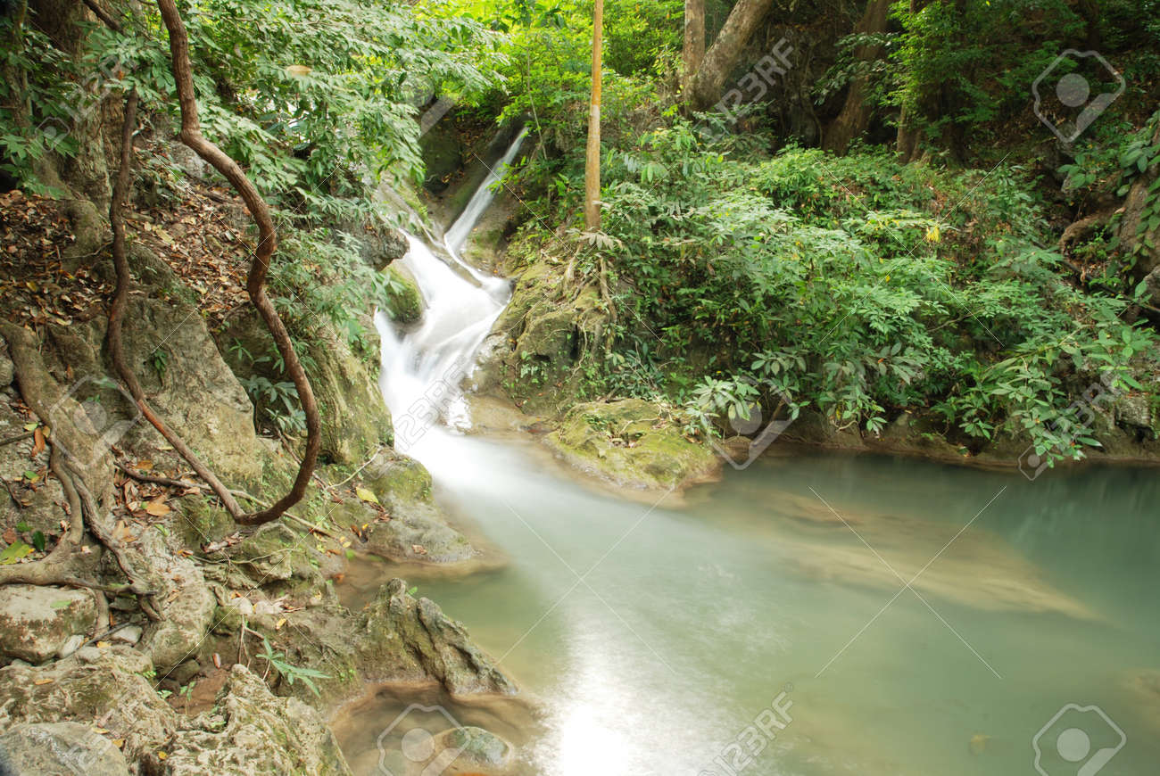 waterfall in thai national park in the deep forest on mountain. Stock Photo - 12409461