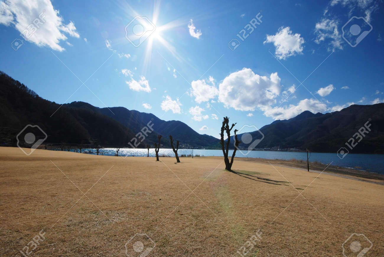 sun rise over pond without water in shizuoka japan Stock Photo - 13205747