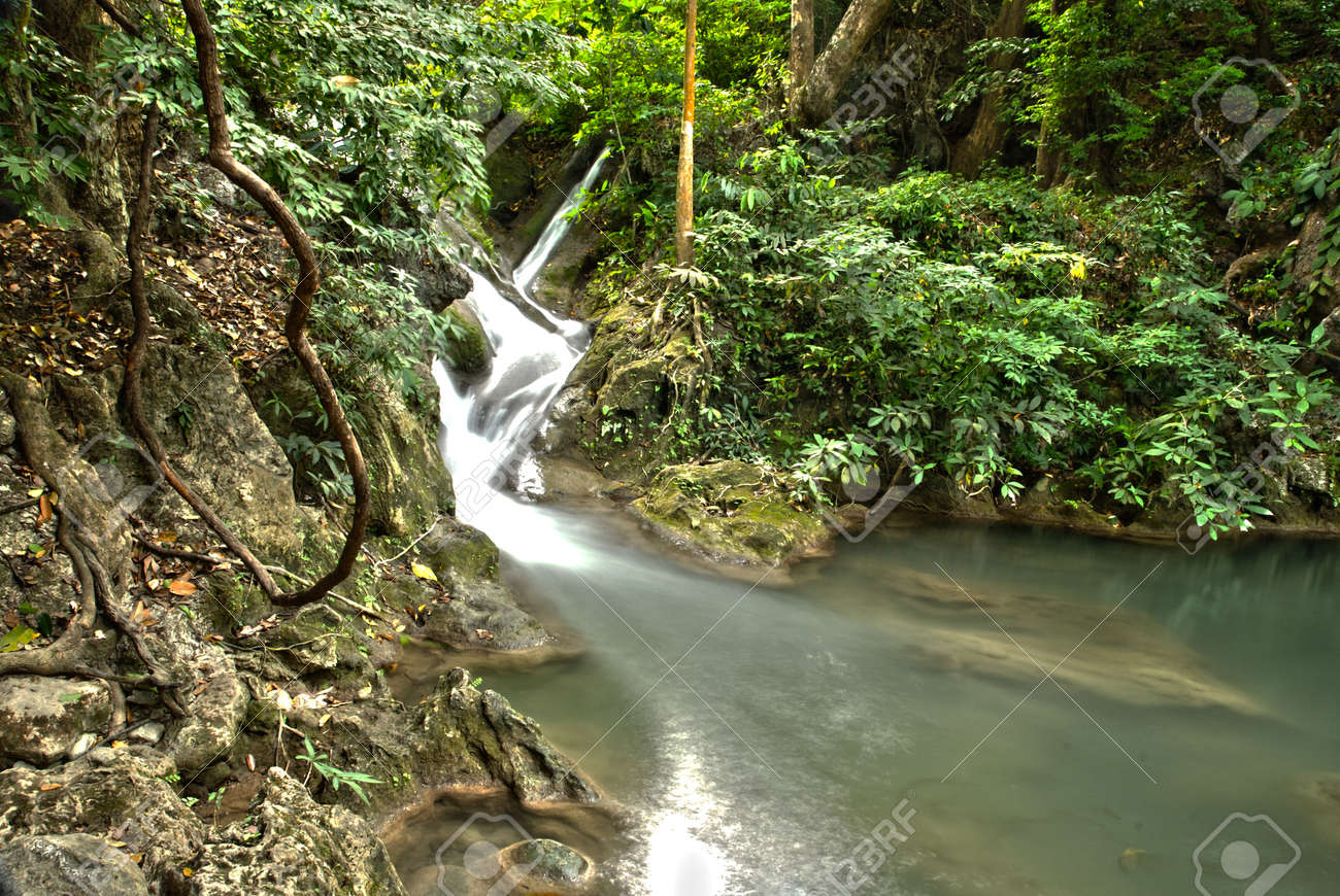 waterfall in thai national park in the deep forest on mountain Stock Photo - 13336150
